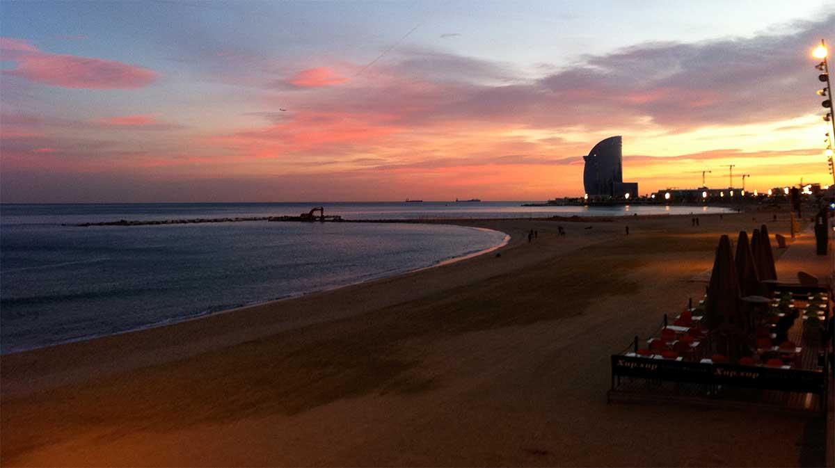 Barceloneta Beach in the Mediterranean Sea
